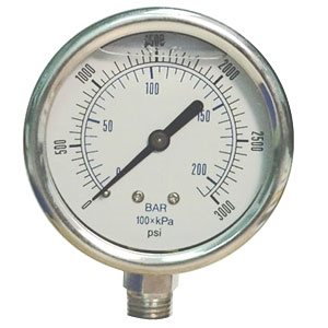 "Pressure Gauge, 0 - 100 psi/bar, 2"" dial, ¼"" Male NPT, Glycerin, Stainless Steel"
