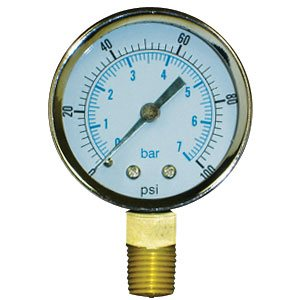 "Pressure Gauge, 0 - 100 psi, 2"" dial, ¼"" Male NPT, Lead Free"